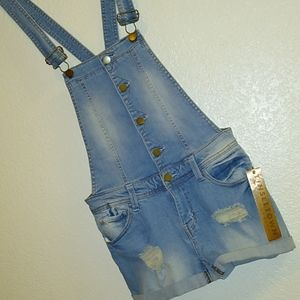 Tinseltown Denim Couture distressed overall shorts